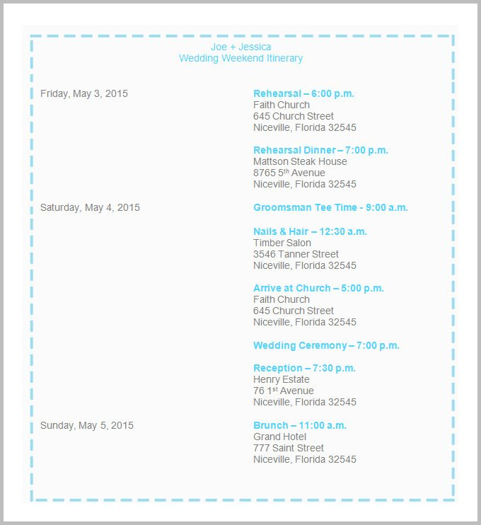 Wedding Itinerary Template - 40+ Free Word, PDF Documents Download - itinerary template