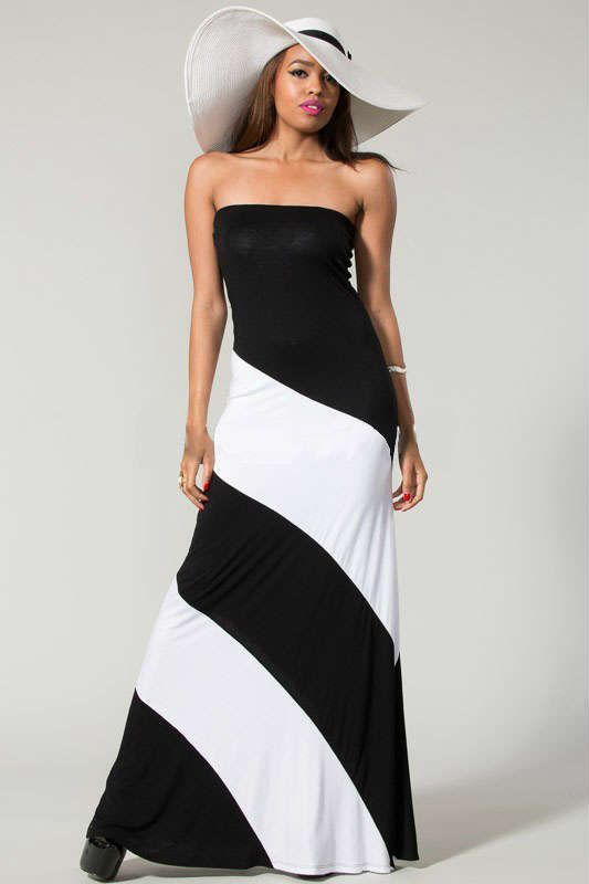And White Strapless Maxi Dress