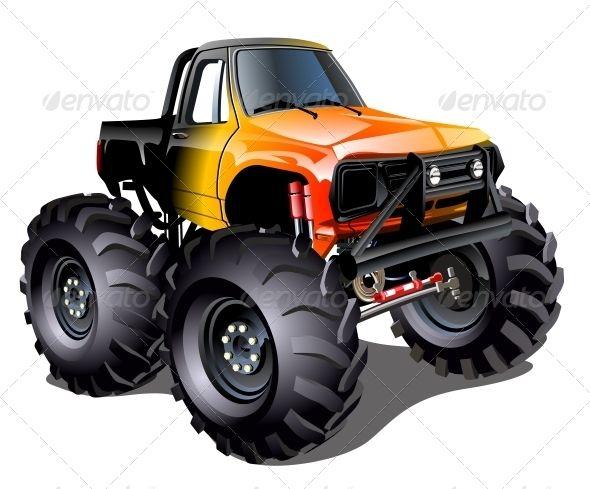 Cartoon Monster Truck Stockfoto Wheelies
