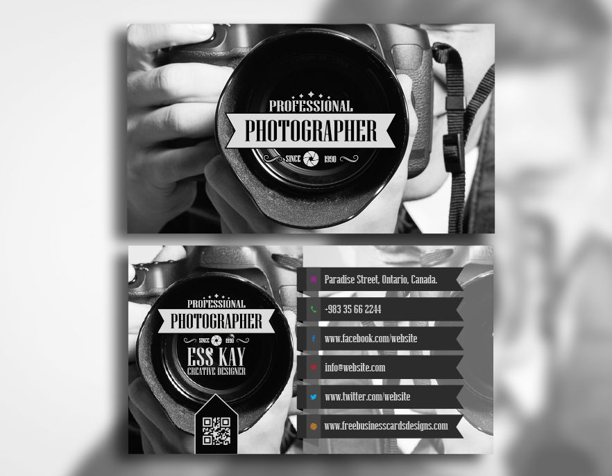 Free Professional Photographer Business Card | Photographer business ...