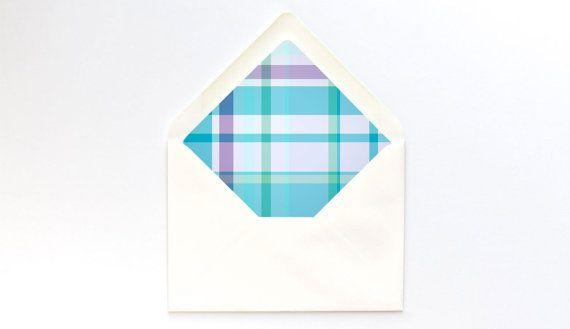 Scuba Plaid Envelope Liner Template  A Euro Flap  Turquoise