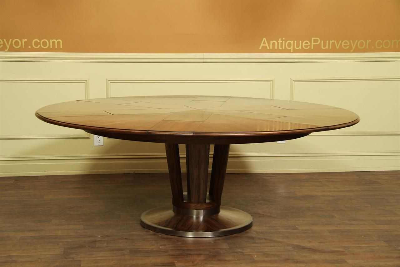Round To Round Dining Table. Expandable Table With Self Storing Leaves.  Solid Walnut With Brass Accents And Modern Style.
