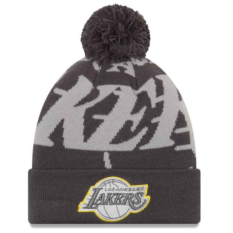 2ef8f7a11c4c4d ... france mens los angeles lakers new era black gray logo whiz 3 cuffed  knit hat with