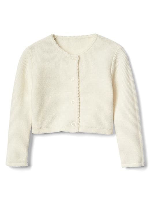 3f19a6a7be2b Gap Baby Picot Garter Cardigan Ivory Frost