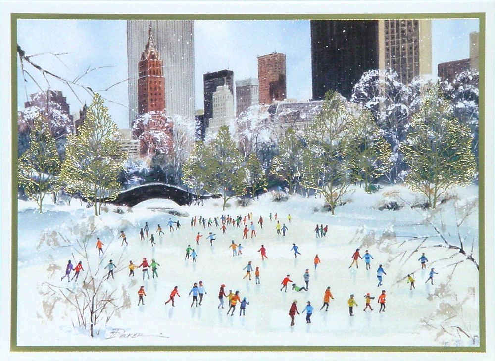 Skating In Central Park New York Christmas Card - Discount Greeting ...