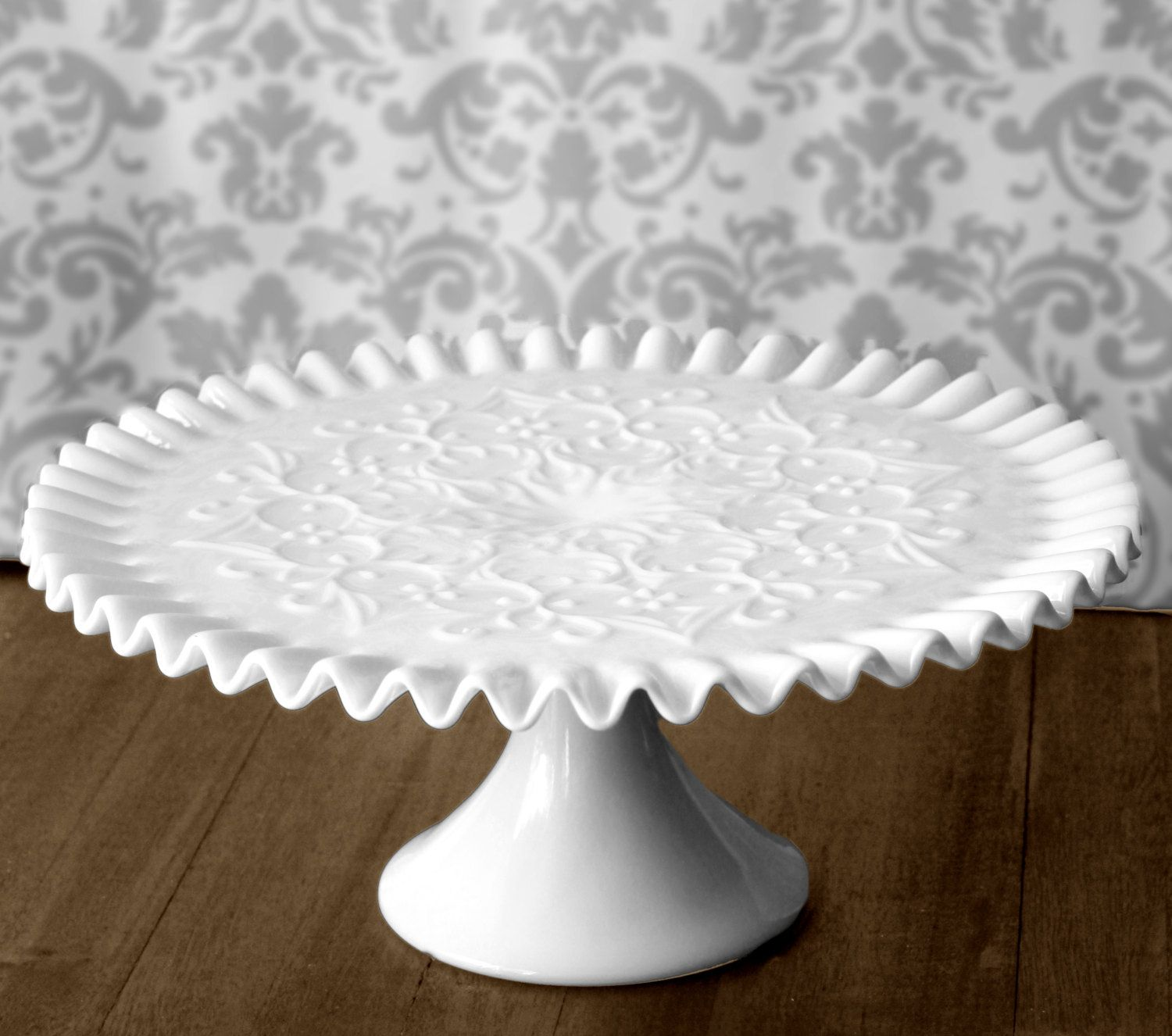 Milk Glass Cake Stand Vintage Cake Stand Cake Pedestal for Classic