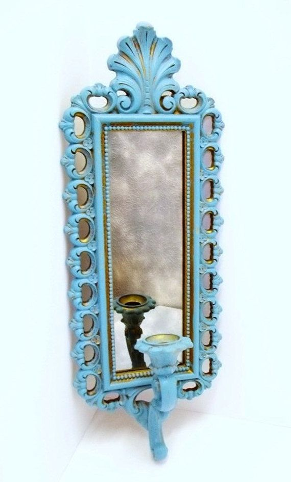 Vintage Turquoise Candle Sconce Wall Mirror Aqua Blue Candle Holder