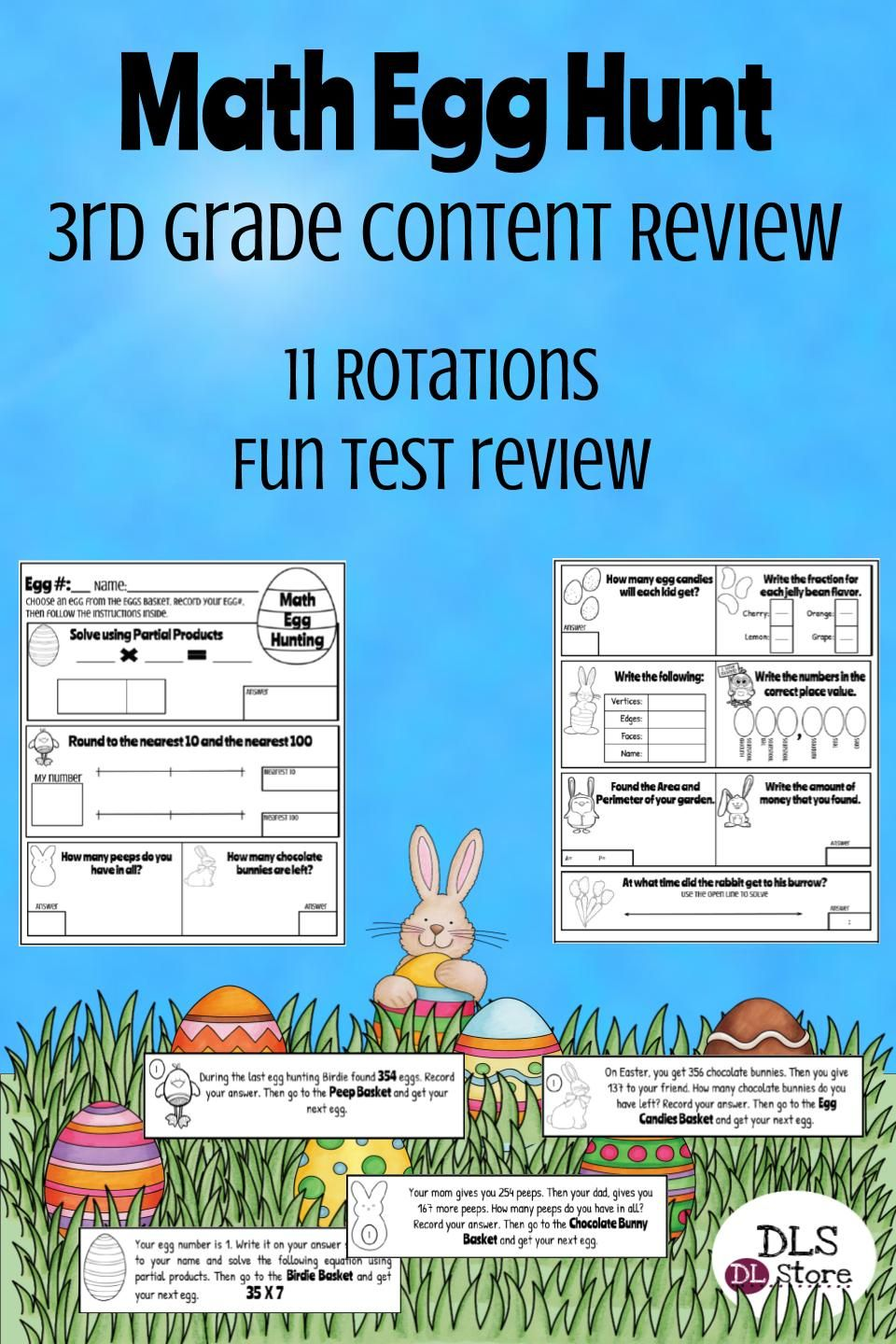 3rd Grade Math Easter Egg Hunt - Test Prep - STAAR | Fun math ...