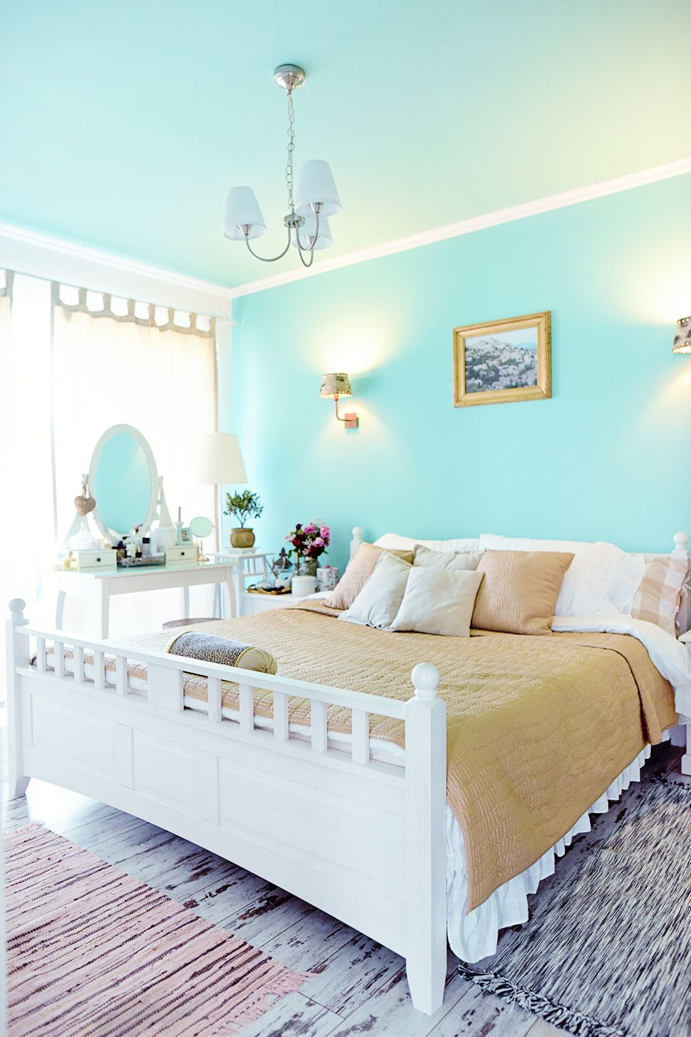 Mint Green And White Home Decor Gold Details