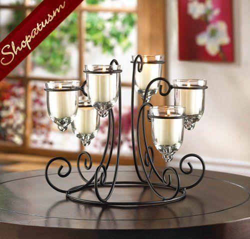 Wrought Iron Candle Display Wedding Centerpiece Candelabra Wrought Iron Candle Wrought Iron Candle Holders Candle Holders Wedding Centerpieces