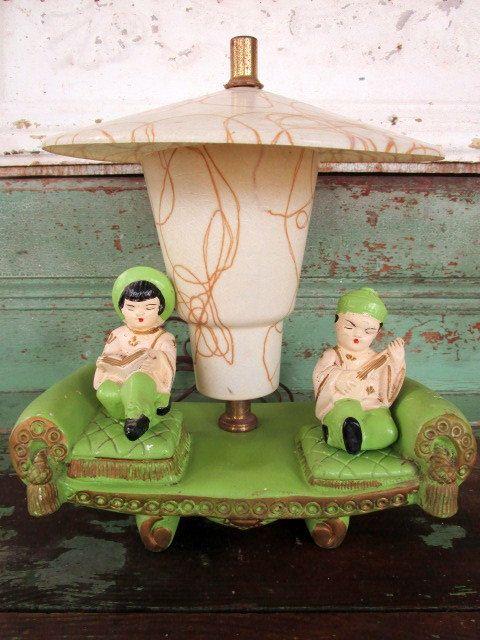 Mid Century 1950s Asian Chalkware fiberglass shade lamp Retro Lime Green by Holliezhobbiez on Etsy