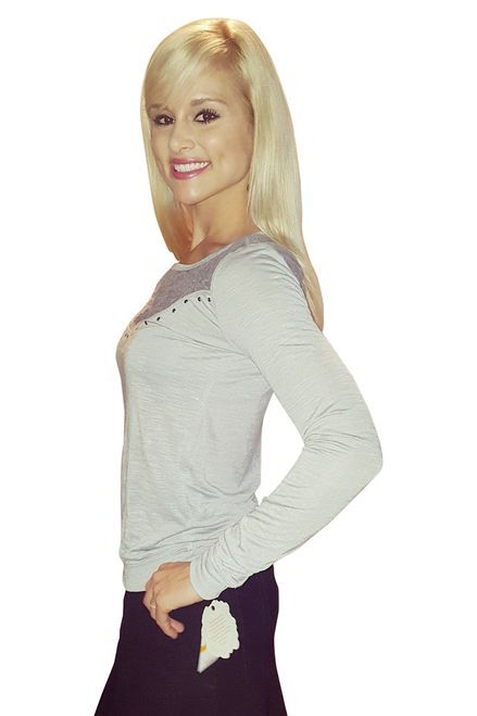Grey Long Sleeve Lace Embellished Top From Belle du Jour!