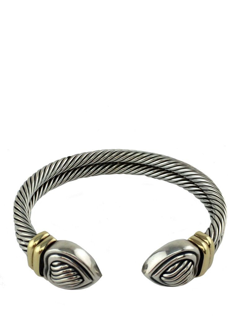 David Yurman Sterling Silver Double Cable Heart Cuff Bracelet with Gold