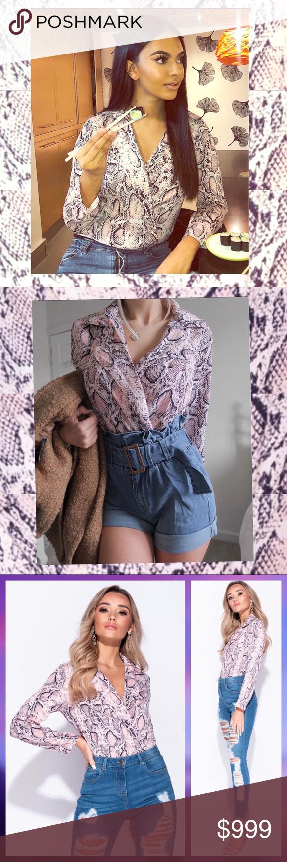 Pink Snake Print Wrapover Bodysuit