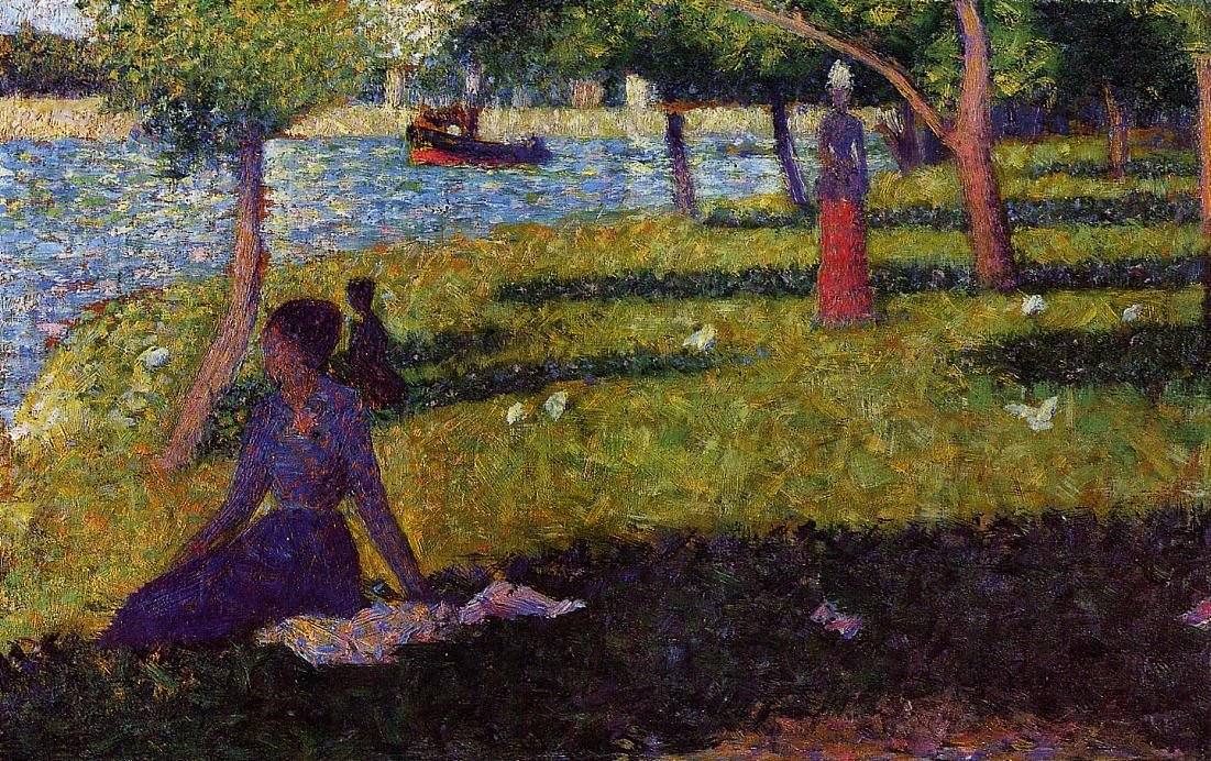 Seated and Standing Woman, 1884, Pointillism, oil on wood. Albright Knox Art Gallery (United States). Georges Seurat (1859- 1891).