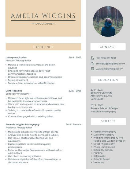 Beige And White Photographer Corporate Resume Business Resume Template Business Resume Infographic Resume