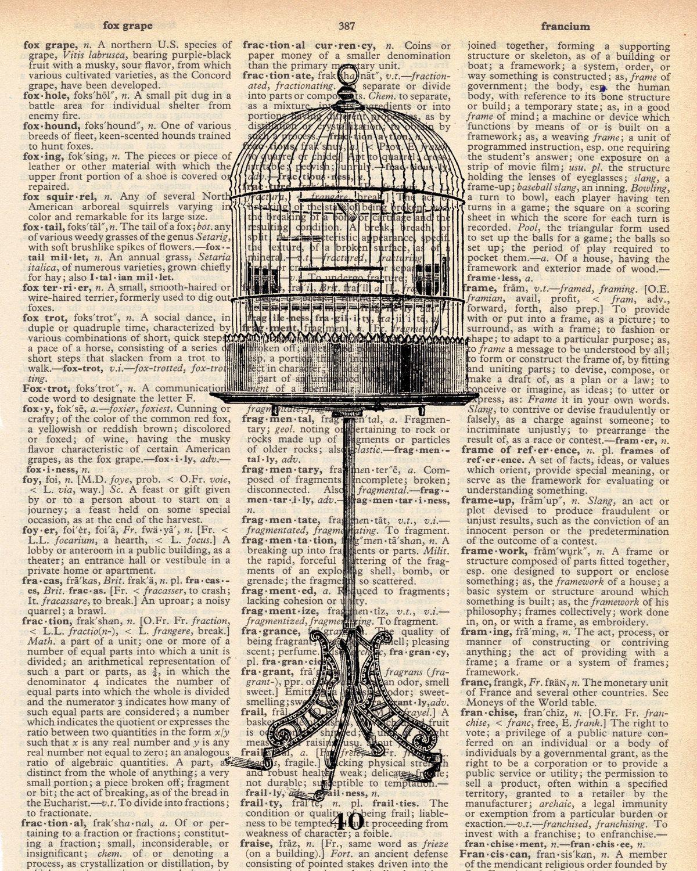 Vintage Dictionary Bird Cage