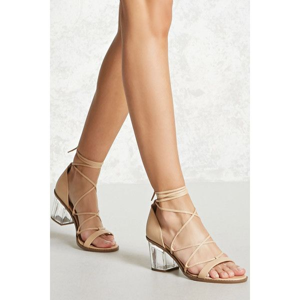 b93a80d6ff9 Forever21 Ankle-Wrap Lucite Heels ($33) ❤ liked on Polyvore ...