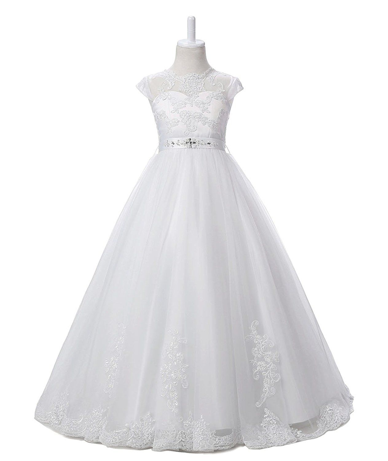2b4722cf72 Amazon.com  Nina Flower Girls Pageant First Communion Scoop Lace Dress  NND065  Clothing