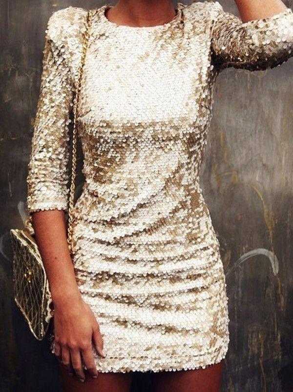 Dress: sparkling gold sequins sequined short lovely long sleeved mini gold sequins gold shiny