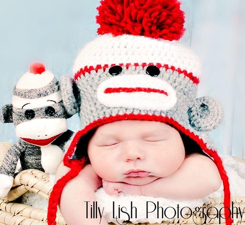 Sock Monkey Crochet Hat Gray 6b3ea13a615c