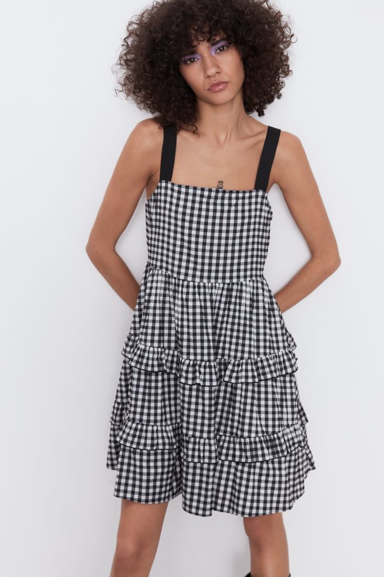 Simple Strappy 70s Check Dress