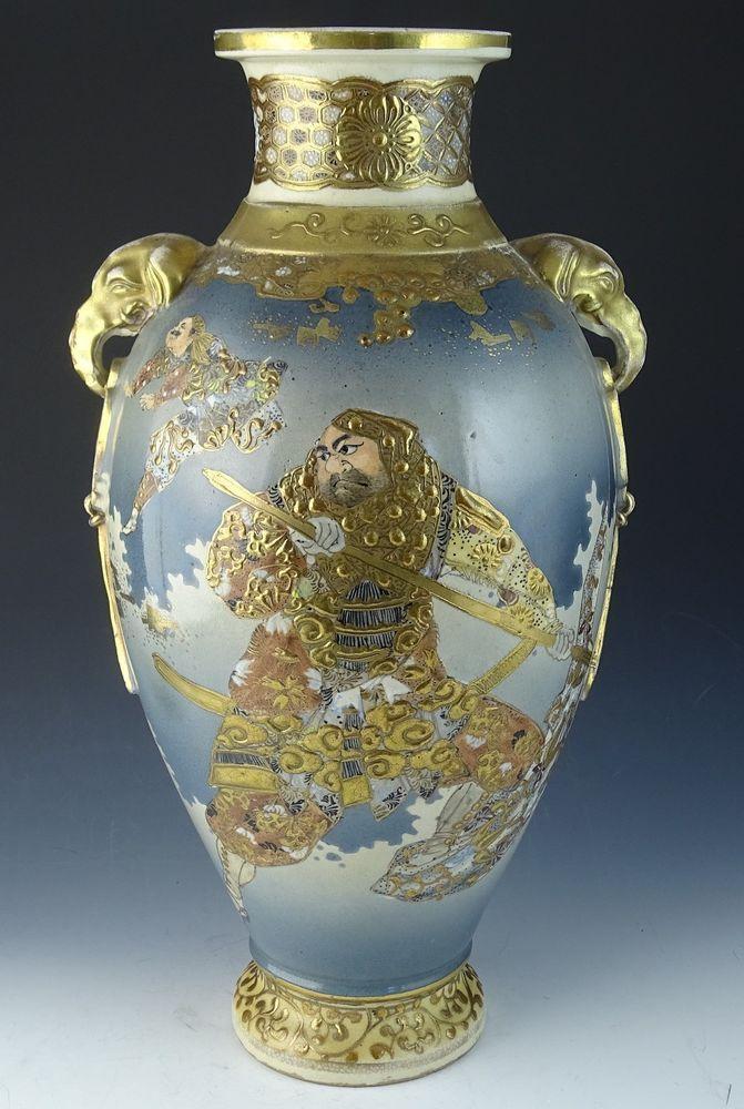 Antique Meiji Period Japanese Satsuma Warrior Vase 18 High