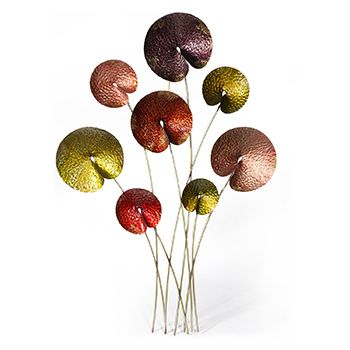 Lacquered metal poppies wall art from earth homewares