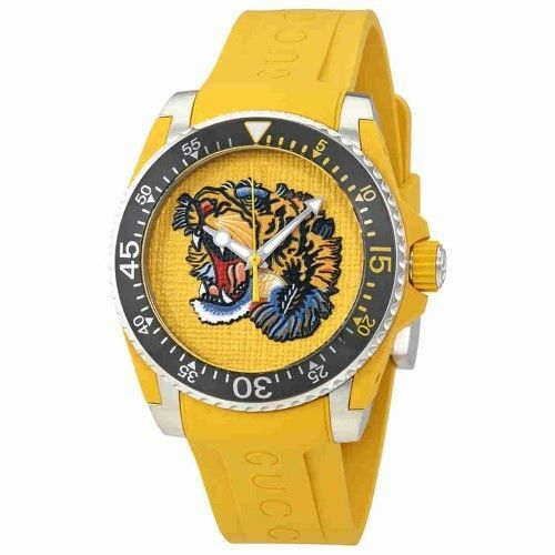 0146d4921c3 Gucci Yellow Embroidered Tiger Dial Men s Watch YA136317