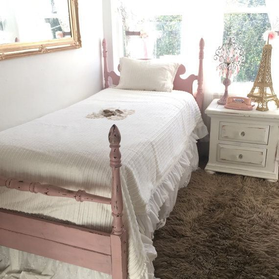 White Bedding Shabby Cottage Chic Twin Size Bedspread Girls Room