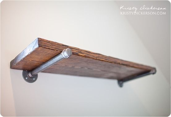 Reclaimed Wood And Metal Wall Shelves: Reclaimed Wood Wall Shelves With Metal Brackets (Knock Off