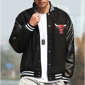 6fa39103 Chicago Bulls Men's Black Leather Sleeves Varsity Jacket [$98 ...