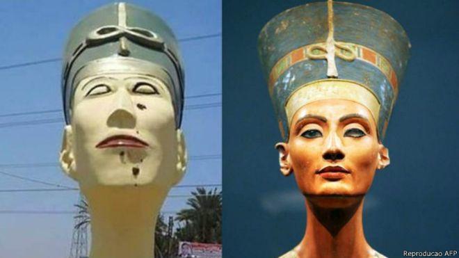Reprodução/AFPAutoridades egípcias viram piada na internet por estátua 'feia' de Nefertiti