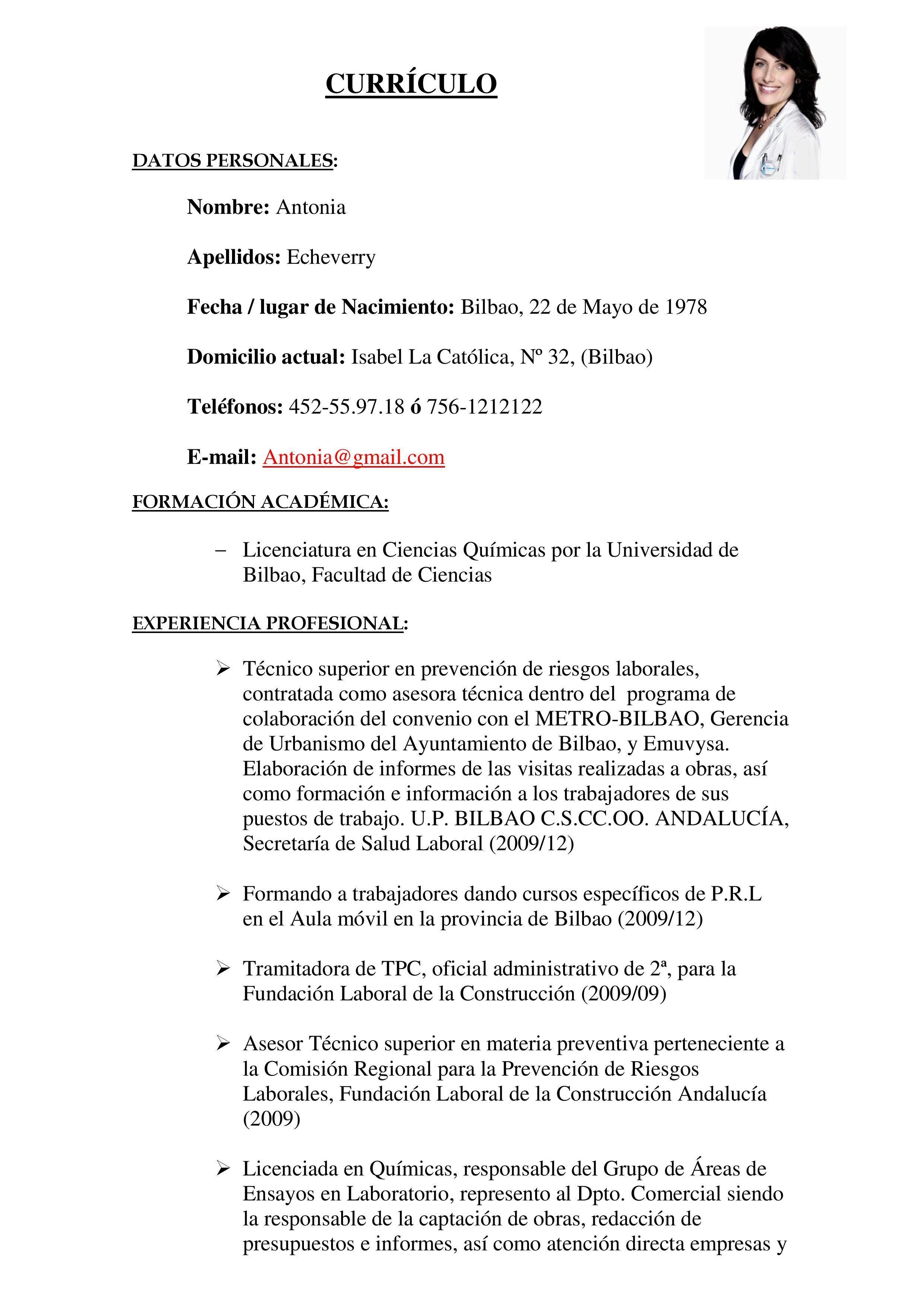Modelo de currículum vitae para ciencias exactas | Pinterest ...