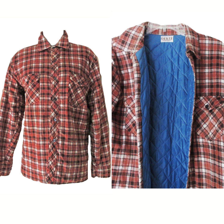 Button Up Top Size 10 Brown Top Lumberjack Shirt High Neck Shirt Vintage 1970s Plaid Flannel Shirt Medium Winter Top