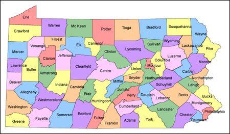 Pennsylvania Association Of Wildlife Rehabilittors County Map Tioga Pennsylvania