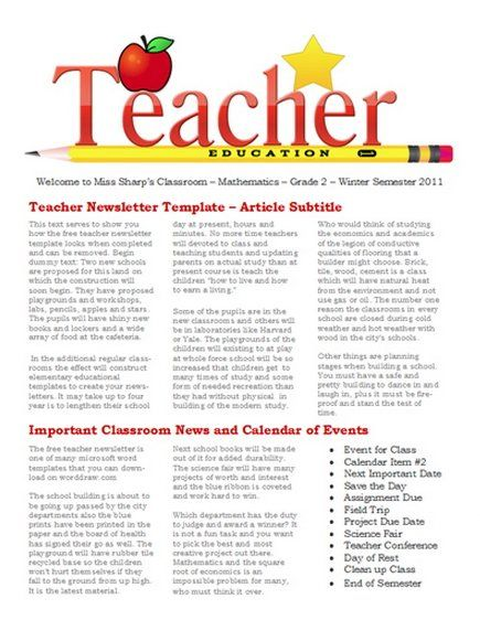 Free Newsletter templates for teaches and school Education - ms word newsletter templates