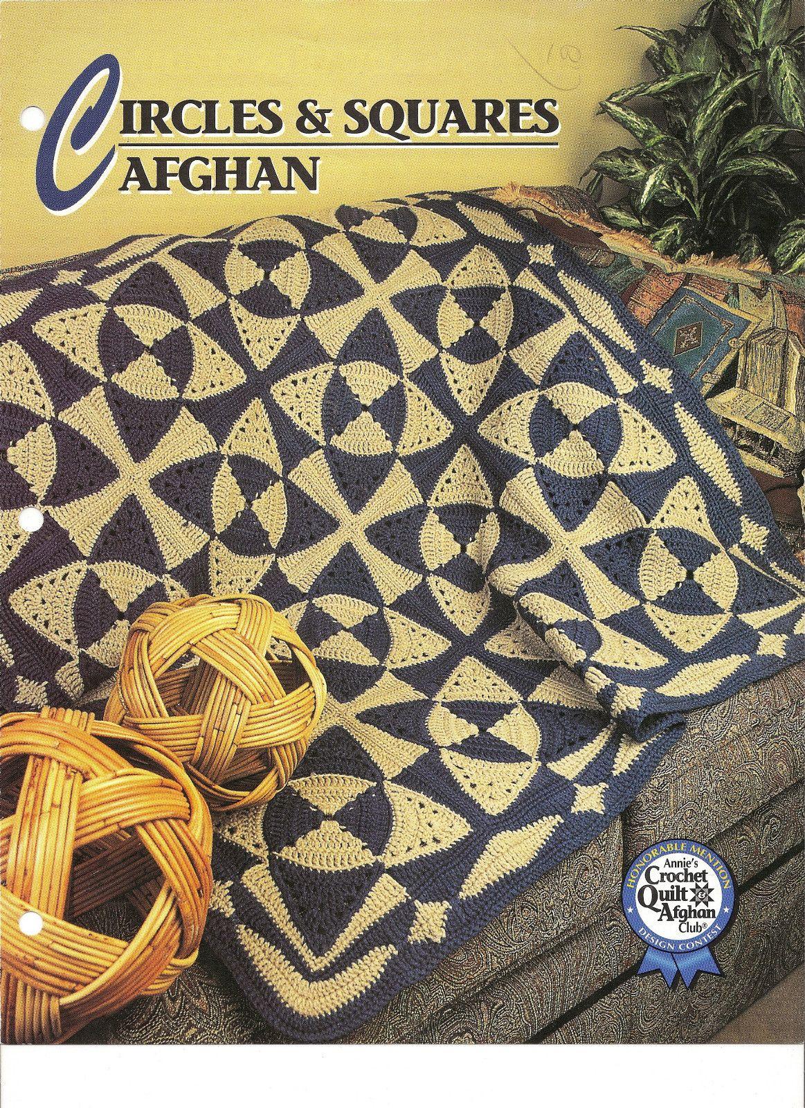 Circles Squares Afghan Crochet Pattern Annies Attic Crochet Quilt