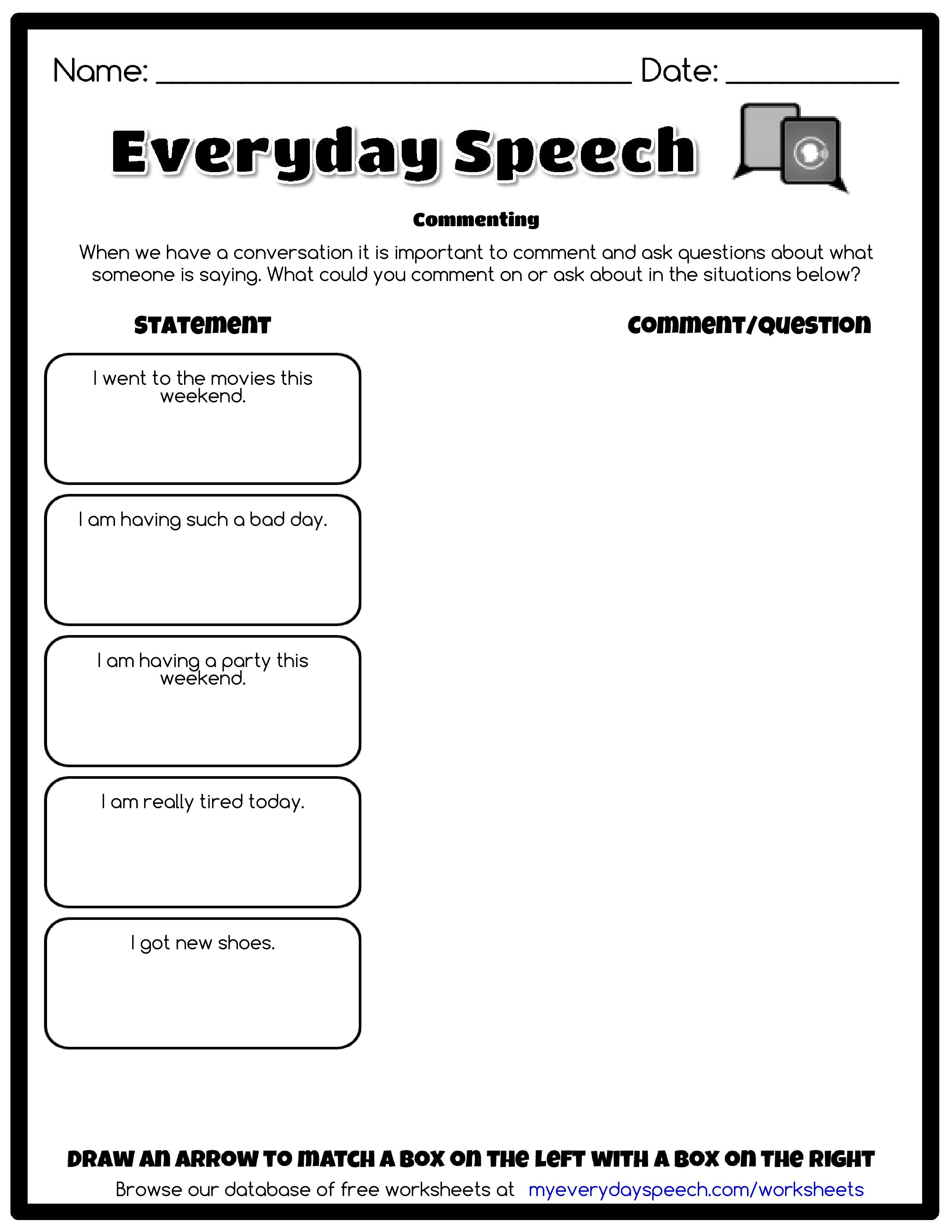 Check Out The Worksheet I Just Made Using Everyday Speech S Worksheet Creator Commenting Wh Speech Therapy Worksheets Therapy Worksheets Speech Activities [ 3300 x 2550 Pixel ]