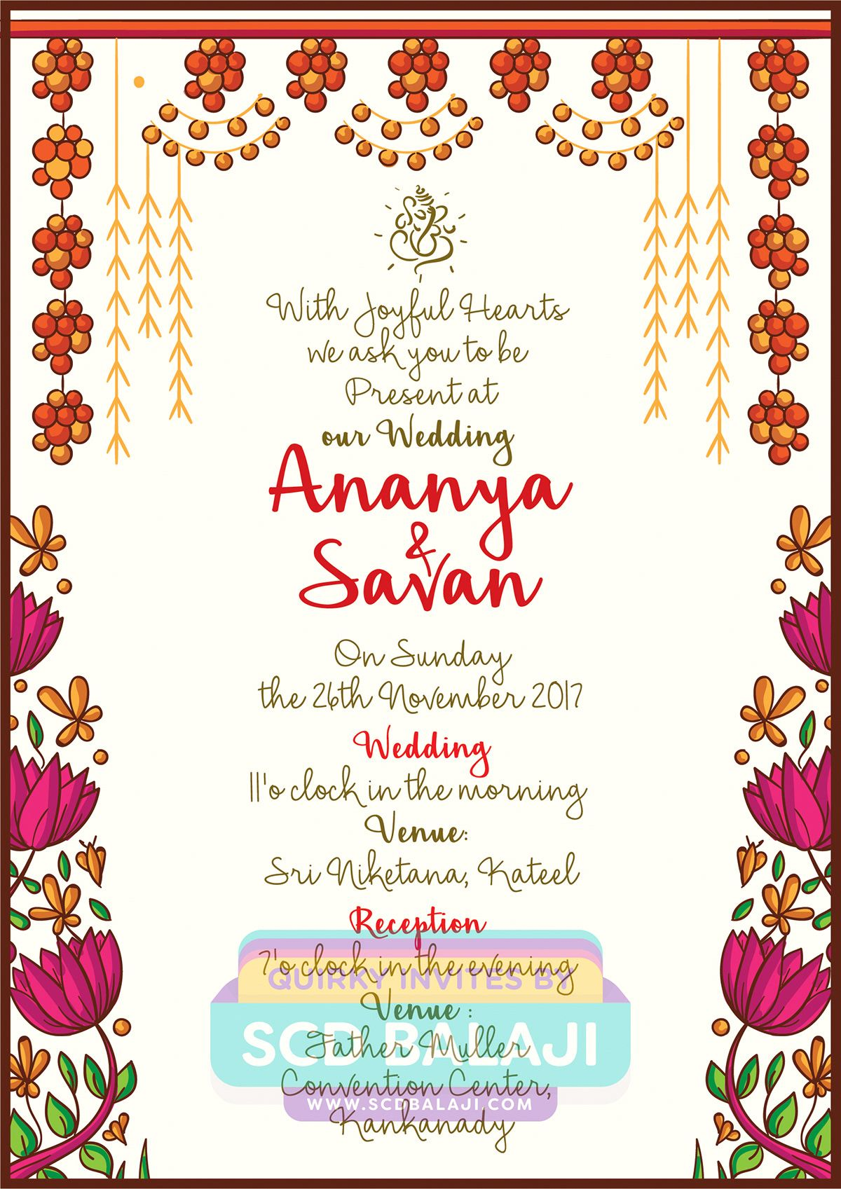 Quirky Indian Wedding Invitations Mangalore Wedding Invitation