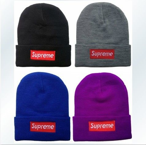 4 STYLES LETTER SUPREME BEANIE HATS WOOL KNIT WINTER HATS FREE SHIPPING  BLACK BLUE GRAY T1 2b33c898f878