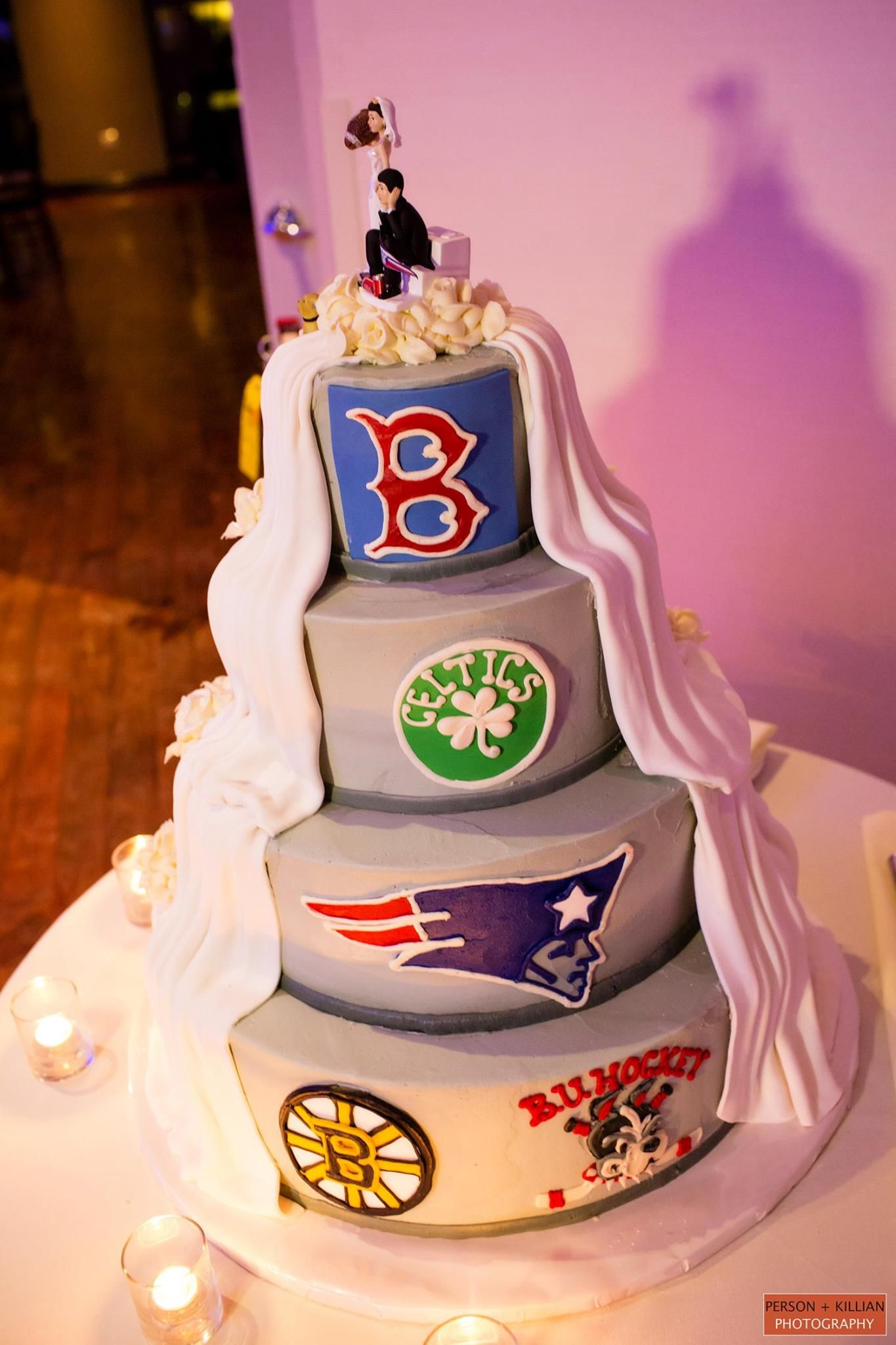 Fun two sided wedding cake. One side traditional, the other side ...
