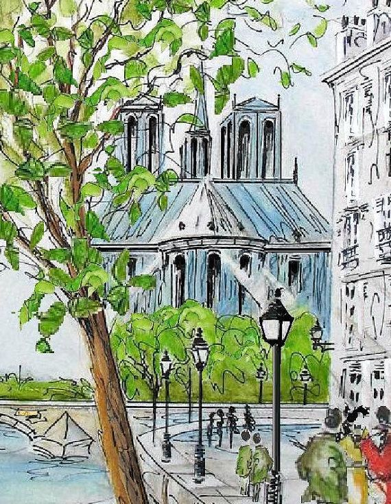 Print Of Paris Notre Dame Painting Paris French Cafe Watercolor