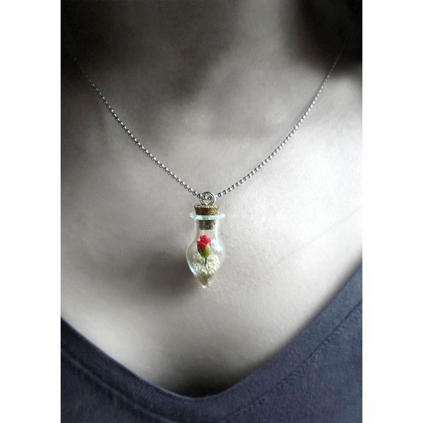 Desert rose necklace, I love you girlfriend gift, for her, glass vial... ($34) ❤ liked on Polyvore featuring jewelry, necklaces, rosette necklace, glass necklace, rose flower jewelry, flower necklaces and rose necklace