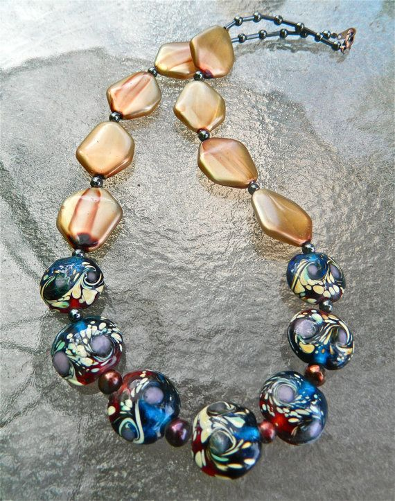 Glass bead necklace multi color glass by CoastAndMountainArts, $42.00