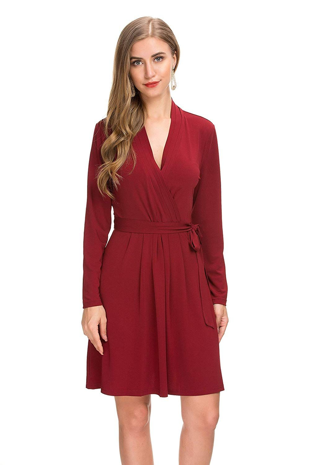 2f28ae5e14cc Le Vonfort Women s Long Sleeve Crossover V Neck Casual Swing A Line Belted  Faux Wrap Dress at Amazon Women s Clothing store