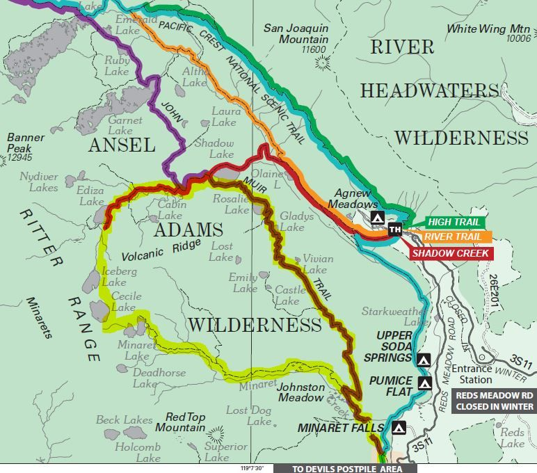 Minarets Loop Trail Map in 2019 | Mammoth lakes, Backng ... on irvine trail map, mono lake trail map, eugene trail map, bear valley springs trail map, whittier trail map, lone pine trail map, claremont trail map, bend trail map, thousand island lake trail map, missoula trail map, yosemite falls trail map, lemon grove trail map, santa rosa trail map, los altos hills trail map, grand rapids trail map, sycamore trail map, highland trail map, jefferson county trail map, whistler trail map, mammoth bus map,