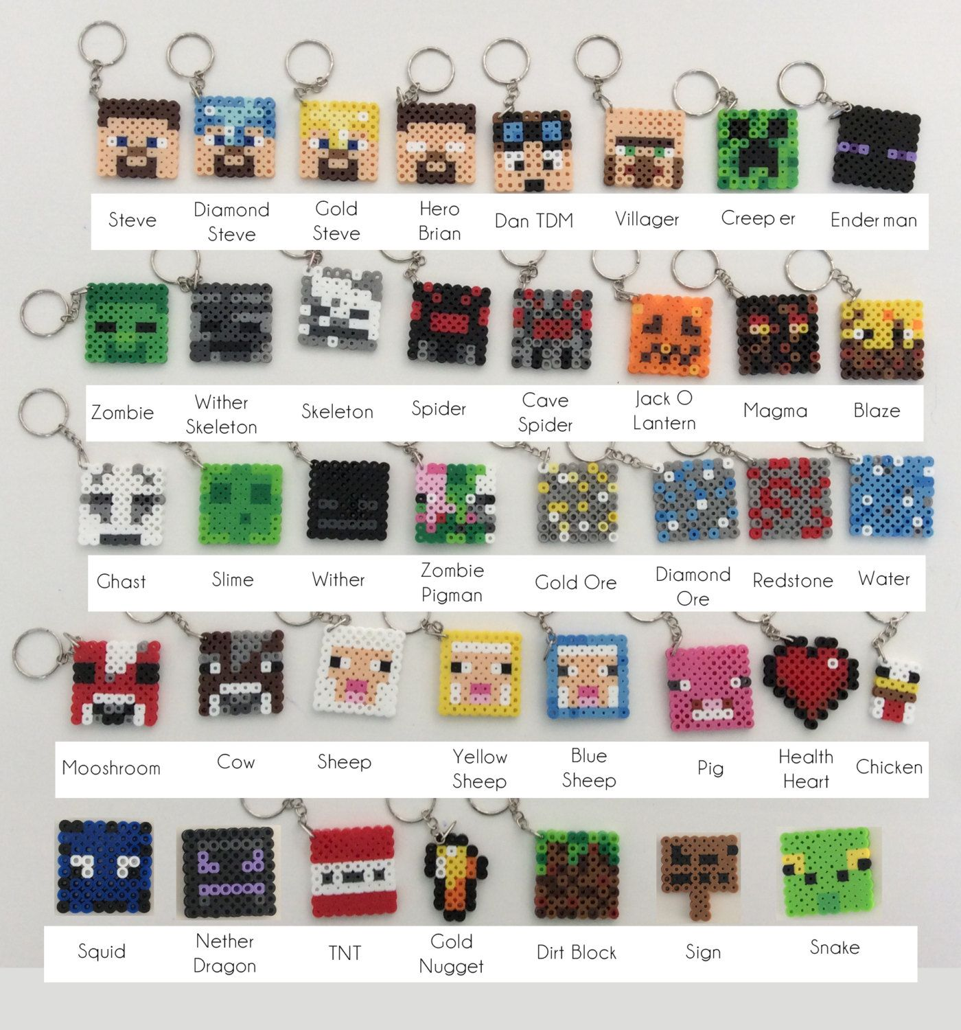 Minecraft Inspired Key Chains / Key Rings perler beads by ...