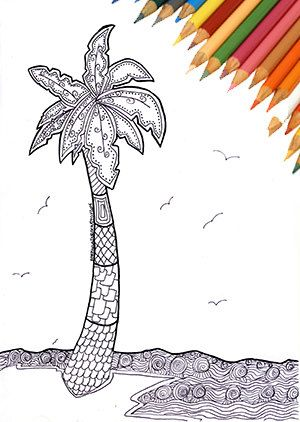 Art Collectibles Drawing Illustration Digital Summer Coloring Page Draw Coconut Palm