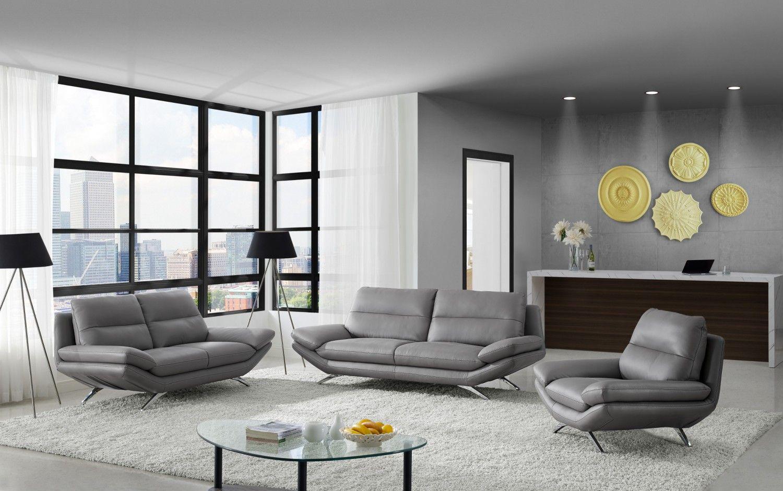 Milo Modern Living Room Set In Matt Grey Leather Creative